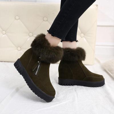 2019冬天加绒厚底内增高雪地靴毛毛短靴子女新款棉鞋 雪地靴 短靴 女靴 诺妮梦