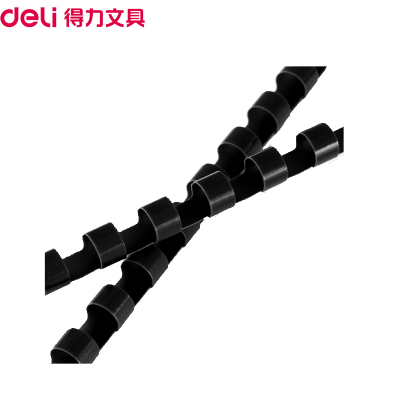 得力(deli)3833 6mm裝訂膠圈黑色100支/盒 適用21孔梳式裝訂機膠圈 裝訂膠環 圓形裝訂夾條裝訂耗材裝訂機