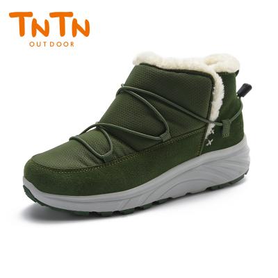 TNTN户外冬季保暖防水厚底俄罗斯东北羊毛加绒女士鞋雪乡地棉靴子(邮差绿)