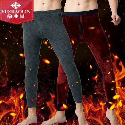 俞兆林加絨加厚棉彈力保暖褲男士超柔熱力絨雙層加大護膝秋褲打底褲