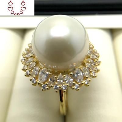 大顆粒天然淡水珍珠戒指 15-16毫米大白愛迪生正圓高亮澤正品 Chunmi