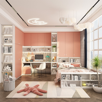 皮阿諾整體兒童房全屋定制兒童臥室現代簡約書桌衣柜床一體一體踏踏米床定制