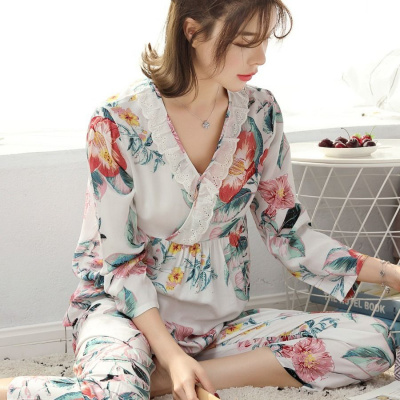 韓版長袖棉綢睡衣女士薄款套裝春夏季家居服空調莎丞
