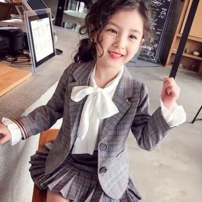 2019年夏季女童西装套装秋装2019新款女孩洋气格子短裙两件套儿童西服百搭 莎丞