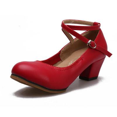 因樂思(YINLESI)廣場舞鞋女式軟底表演舞蹈鞋紅色中跟高跟跳舞鞋現代四季
