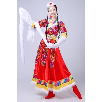 高档精工民族舞蹈戏曲服饰水袖藏族舞蹈演出服装女成人少数民族西藏舞蹈服藏袍水袖修身长款