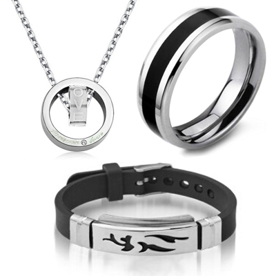 醉月 三件套 项链男士+戒指+手链 感觉到你复古韩版男式个性钛钢时尚款饰品 T66