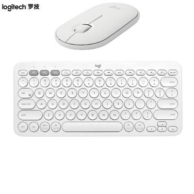 羅技Pebble鵝卵石無線藍牙靜音鼠標+K380藍牙鍵盤芍藥白 送禮物可愛顏值時尚