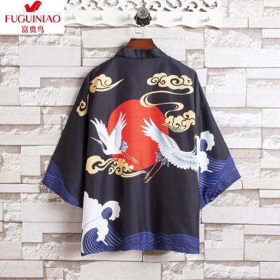 富貴鳥(FGN)胖子日系道袍男七分袖大碼寬松中國風上衣潮牌夏季開衫外套漢服男風衣