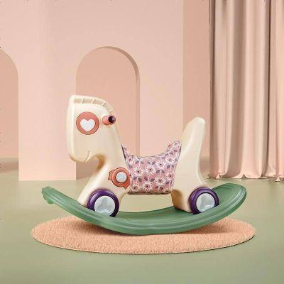 babycare寶寶搖搖馬 兒童搖馬塑料小木馬 1-2-3周歲禮物嬰兒玩具 維爾粉(配粉色坐墊)