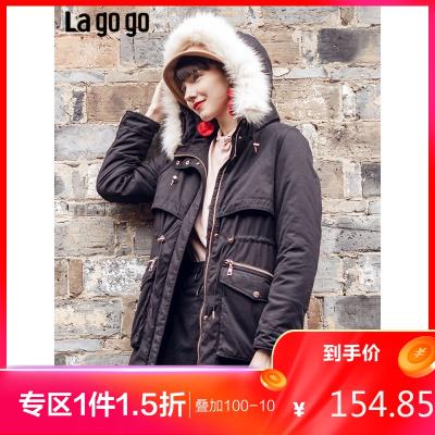 Lagogo/拉谷谷潮味時尚棉服女HCQQ339C46