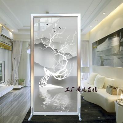新中式歐式時尚屏風隔斷墻客廳臥室入戶玄關雙面藝術鋼化玻璃簡約現代小戶型磨砂玻璃屏風