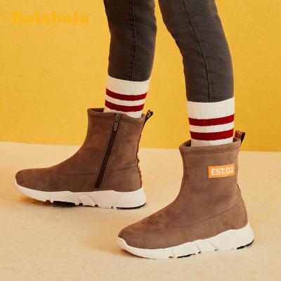 巴拉巴拉女童棉靴小童鞋男童短靴2019冬季新款加绒大童儿童鞋子暖