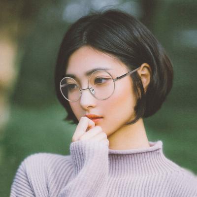 圆形复古眼镜框韩版防蓝光男士近视眼镜女平光镜超轻眼镜架潮配镜 03黑色超小号(防蓝光)