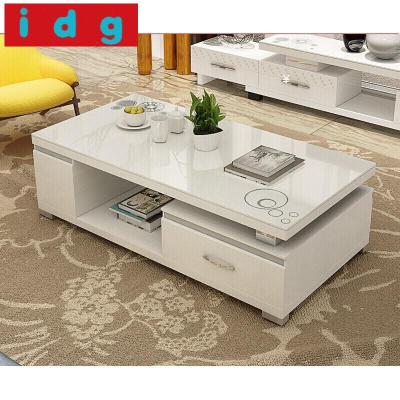 家裝好貨米囹烤漆茶幾桌子大小戶型1.5米鋼化玻璃客廳家具黑白茶幾 1.5米全白款 組裝放心購102260