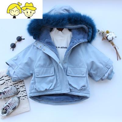 儿童皮外套女童装防兔毛派克服男宝宝七分袖大毛领冬季加厚棉衣