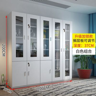 檀星星木質書柜書架落地現代簡約置物架帶玻璃組合書櫥客廳儲物柜子