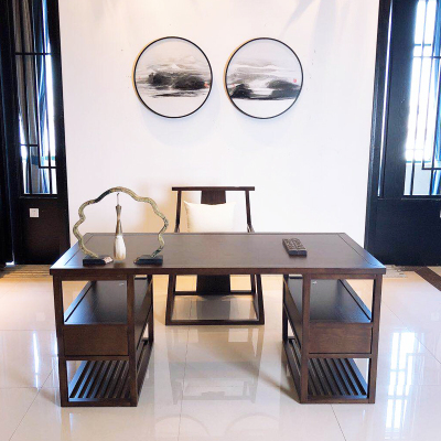 歐若凡新中式書桌現代禪意畫桌書架組合書房電腦桌輕奢辦公桌實木寫字臺