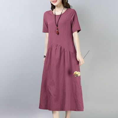 棉麻連衣裙2020新款女夏裝休閑百搭寬松大碼氣質短袖A字裙中長款 暖青匯