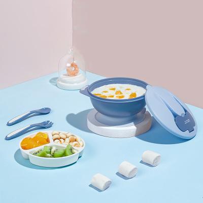 babycare 嬰兒碗勺套裝寶寶吃飯輔食碗兒童餐具防摔防湯便攜吸盤碗冰川藍2180