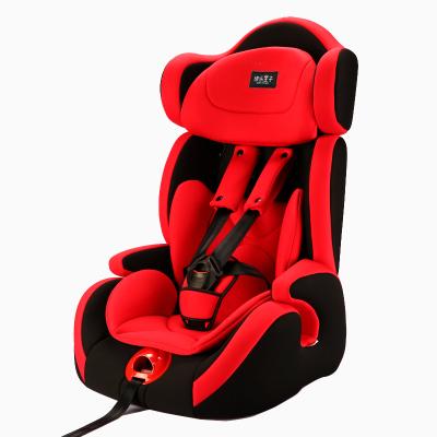 快樂王子 汽車兒童安全座椅嬰兒寶寶9個月-12歲0-4檔通用型可坐躺黑紅色