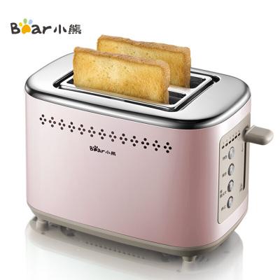 小熊(bear)多士爐 烤面包片機 全自動家用小型吐司機 不銹鋼2片早餐機神器三明治機 DSL-C02D2 粉色
