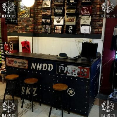 复古服装店收银台转角创意做旧个性铁艺咖啡厅酒吧吧台柜台前台