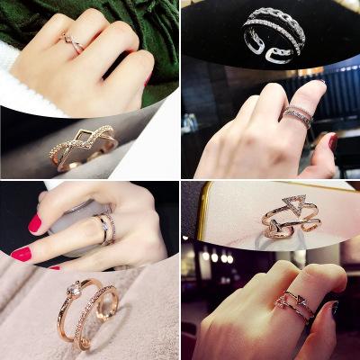梓珊(FXM)銀戒指日韓簡約氣質百搭潮人戒指女微鑲開口可調節指環女戒f自戴女神節禮物