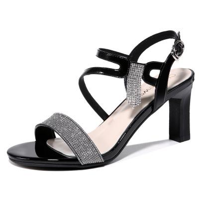 帝紫規2020夏季新款韓版涼鞋女粗跟露趾中跟百搭粗跟女士涼鞋女鞋子