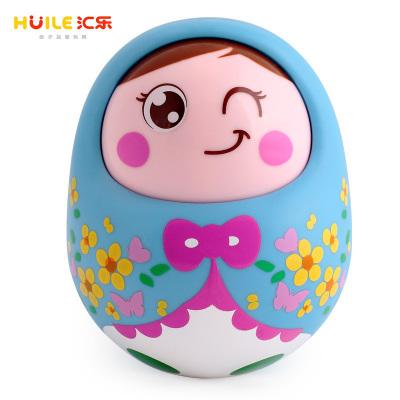 匯樂玩具HUILE TOYS 塑料點頭不倒翁娃娃 單只裝979 嬰幼兒寶寶益智玩具3個月以上兒童搖鈴