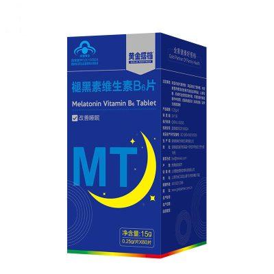 黃金搭檔 褪黑素維生素b6片 0.25克/片*60片 成人中老年退黑素片改善睡眠失眠