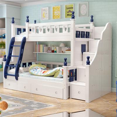 都市名門 地中海雙層床上下鋪木床美式男女子母床兩層實木孩兒童床高低床成人上下床粉白色公主床帶儲物組合床雙人床實木床多功能