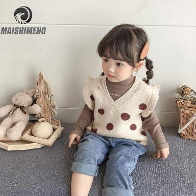 【精品特賣】女小童毛衣馬甲背心2019秋季新款童裝洋氣V領波點針織毛線衣上衣