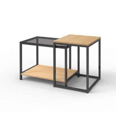 航竹坊 現代簡約多功能移動伸縮邊幾角幾鋼化玻璃小茶幾沙發邊幾邊桌