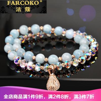 法蔻首飾輕奢品牌水晶手鏈女天然海藍寶銀韓版簡約個性手串閨蜜ins小眾設計手飾
