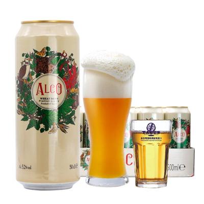 買兩件送杯,數量有限,原裝進口阿爾寇小麥白啤酒原漿啤酒500ml*24罐裝