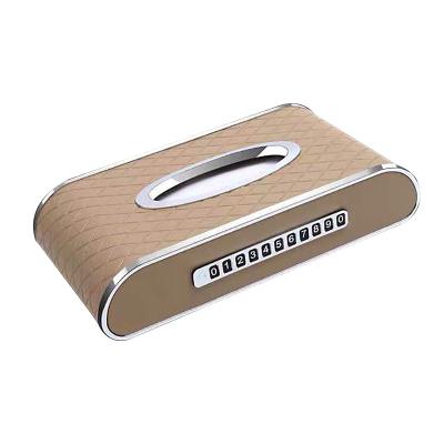 (米色帶號碼牌)ZHUAX汽車紙巾盒車載抽紙盒車用車內金屬餐巾紙皮革創意個性臨時停車卡挪車牌擺件扶手箱座式高檔