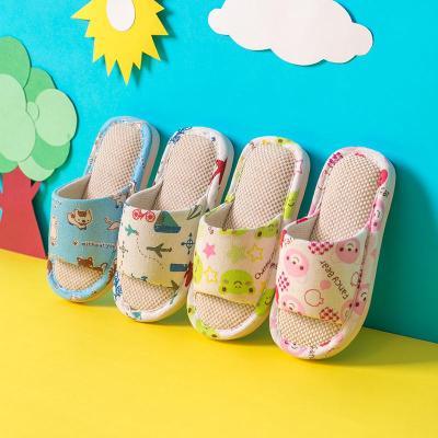 迈凯恩品牌儿童拖鞋棉麻布艺室内男童女童小孩家用亚麻家居家春秋冬宝宝防滑
