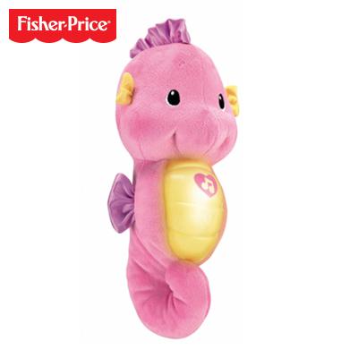 Fisher Price 費雪-聲光安撫海馬-粉色0-6個月毛絨公仔嬰幼兒童寶寶玩具男孩女孩 20-30cm DGH83