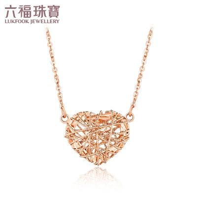 六福珠寶18K金項鏈愛纏心彩金項鏈套鏈定價L18TBKN0032R/L18TBKN0032W/L18TBKN0032Y