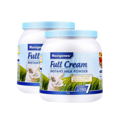 Maxigenes美可卓 澳洲進口奶粉藍胖子全脂成人奶粉高鈣青少年中老年學生成人牛奶粉1kg/罐 2罐裝