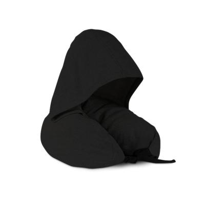 北極絨 多功能頭枕頸枕旅行枕頭午睡駕駛小憩休息U型枕帶帽眼罩 黑色