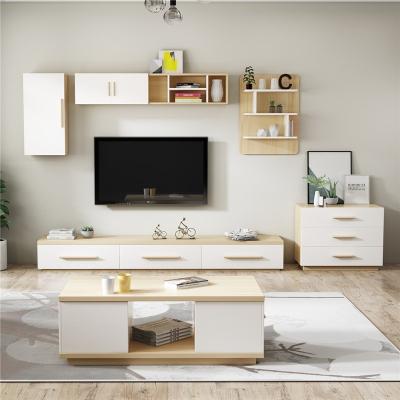 北歐電視柜茶幾組合套裝現代簡約背景墻柜儲物柜掛柜地柜客廳家具 1.8米電視柜 組裝