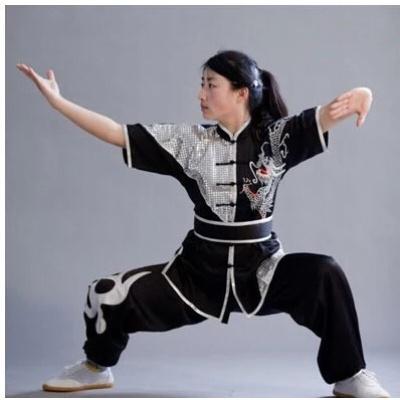 因樂思(YINLESI)武術服裝刺繡龍短袖男女長拳比賽服南拳練功服武術表演服兒童彩服