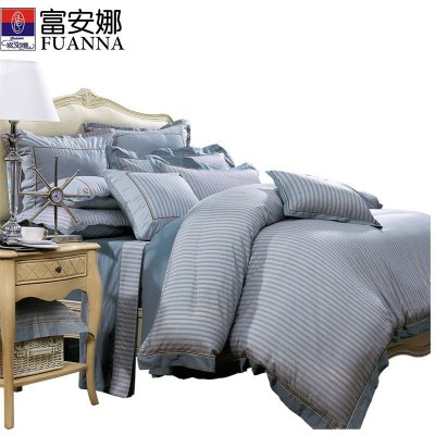 富安娜(FUANNA)家纺纯棉四件套简约全棉床上用品中性1.5米床双人1.8米套件床单被套