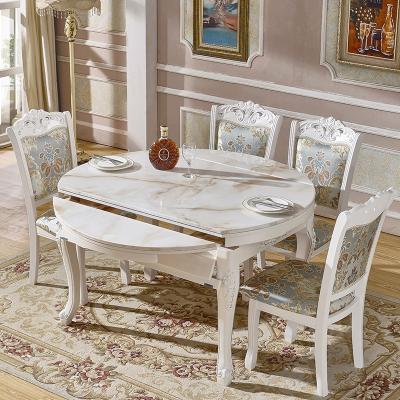 欧式伸缩餐桌椅组合大理石实木折叠圆形餐桌家用饭桌小户型餐桌椅