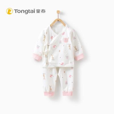童泰TONGTAI純棉嬰兒和服開襠套裝0-3個月寶寶側開系帶上衣褲子兩件套