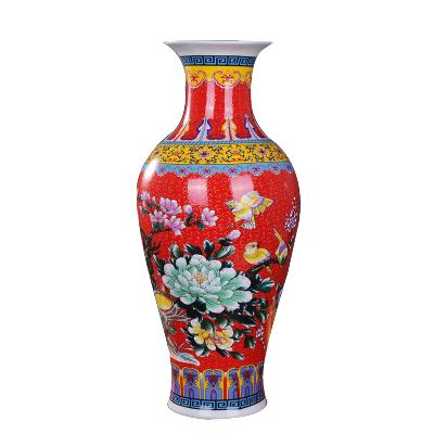 景德镇陶瓷花瓶简欧式落地大花瓶插花现代中式客厅装饰品电视柜摆件 红色鱼尾