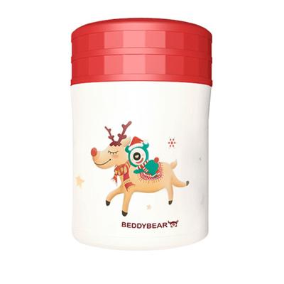 (圣誕限量款)免費刻字韓國杯具熊BEDDYBEAR杯具熊燜燒保溫杯高真空不銹鋼食物罐兒童成人保溫杯學生燜燒壺520ML