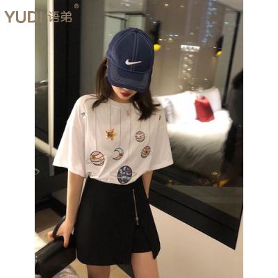 YUDI語弟2020夏季大碼女裝刺繡亮片網紅學生寬松短袖T恤女6535棉